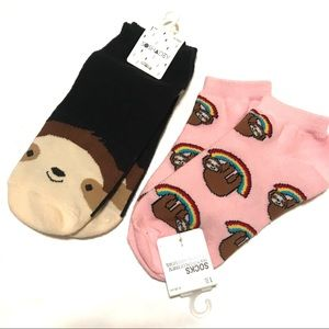 Forever 21 Socks Sloth Print Two Pairs Ankle NWT
